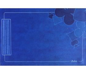 Tapis de cartes Belote 40 X 60 cm bleu grille Points joueurs - déco pique
