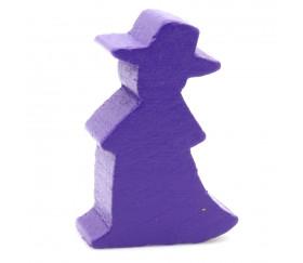 Pion en bois sorcière magicien violet 20 x 30 x 10 mm