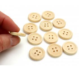 12 boutons ronds en bois naturel 2 cm