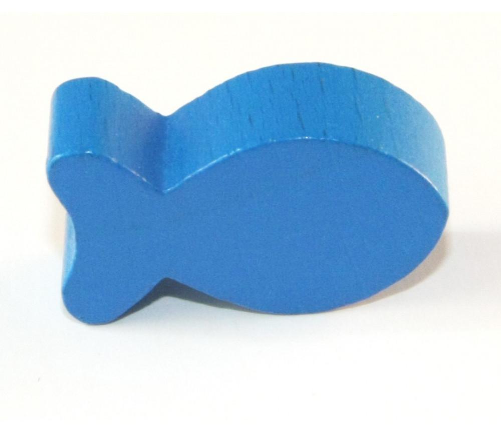 Pion poisson bleu en bois