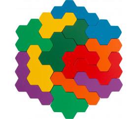 Jeu des Hexagones en bois casse-tête Puzzle
