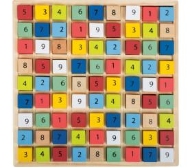 Sudoku en bois carrés couleurs et chiffres