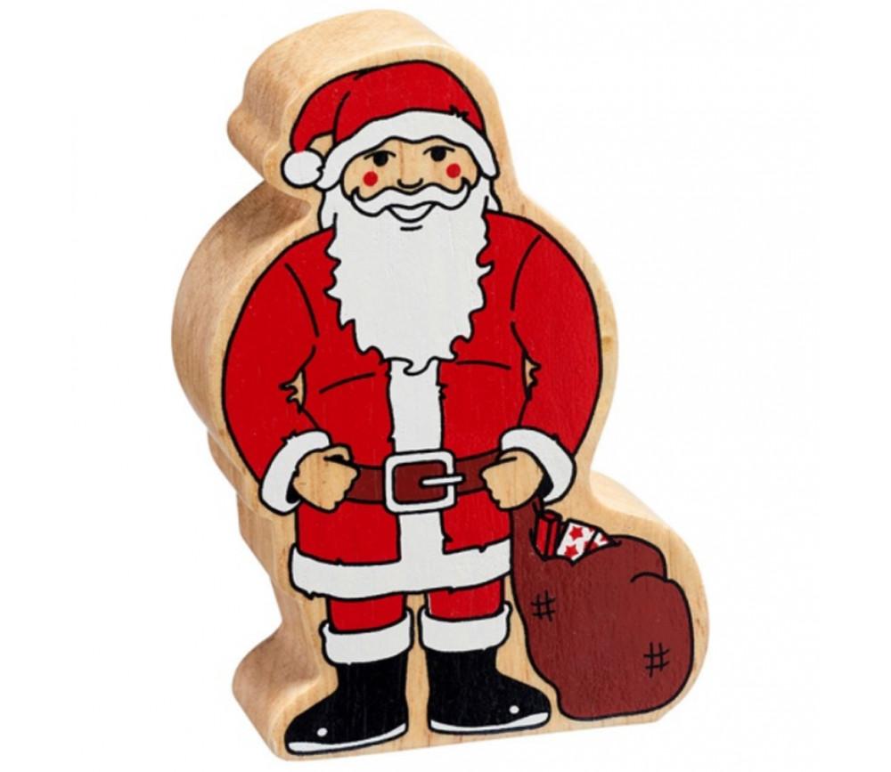 Père Noël en bois 105 x 74 x 25 mm personnage jeu