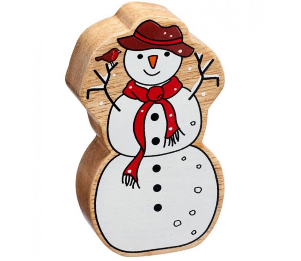 Bonhomme de neige en bois 100 x 58 x 25 mm personnage