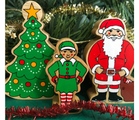 Lutin de Noël en bois 82 x 45 x 25 mm elfe