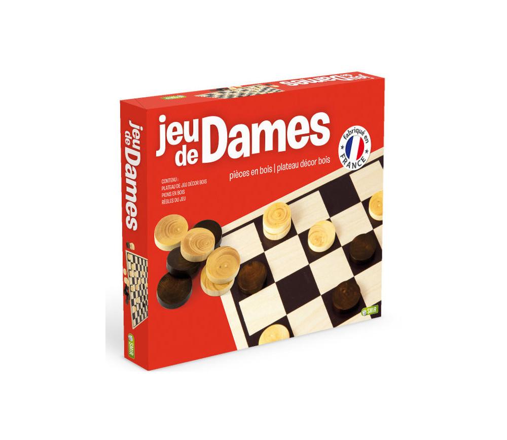 Dames plateau 29 cm + 40 pions bois  hêtre - Jeu Français
