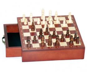 Jeu échecs magnétiques 19.5 cm bois plateau marqueterie avec tiroir