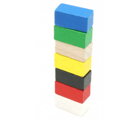 Pion rectangle 10x10x20 mm en bois pour jeu multicolore