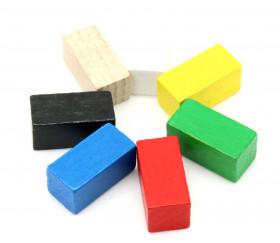 Pion rectangle 10x10x20 mm en bois pour jeu différentes couleurs