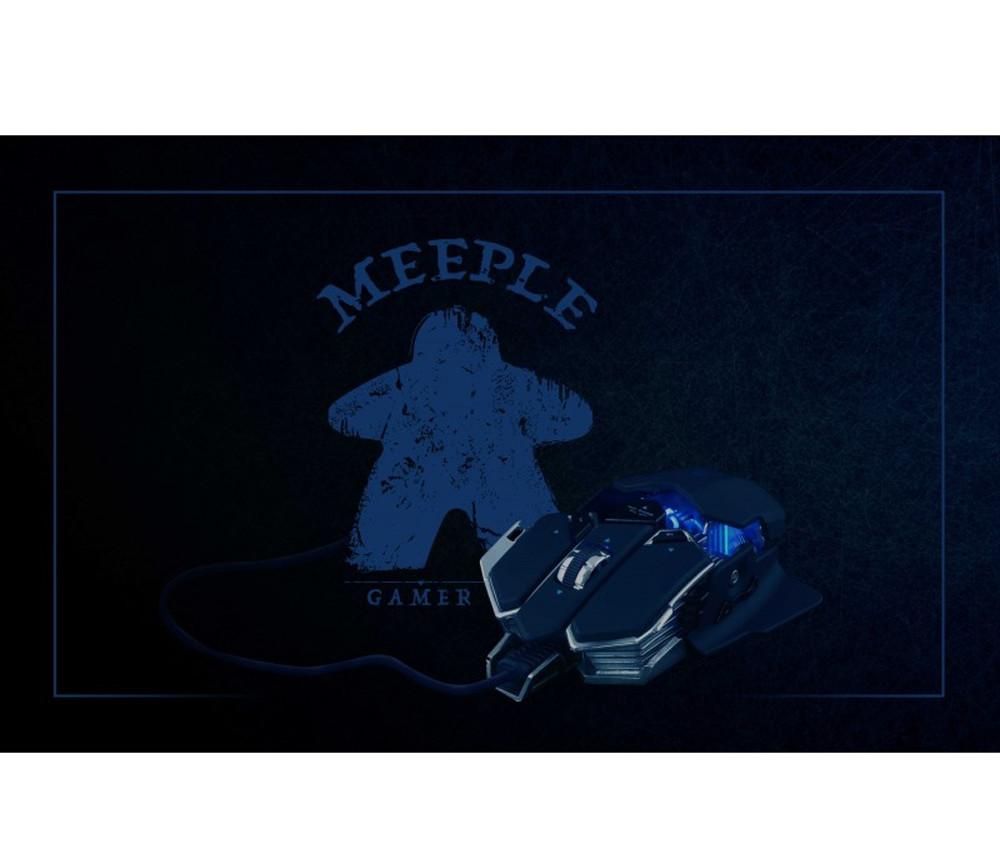 Tapis de Jeu Bureau Gaming 100 x 60 cm Meeple bleu gamer