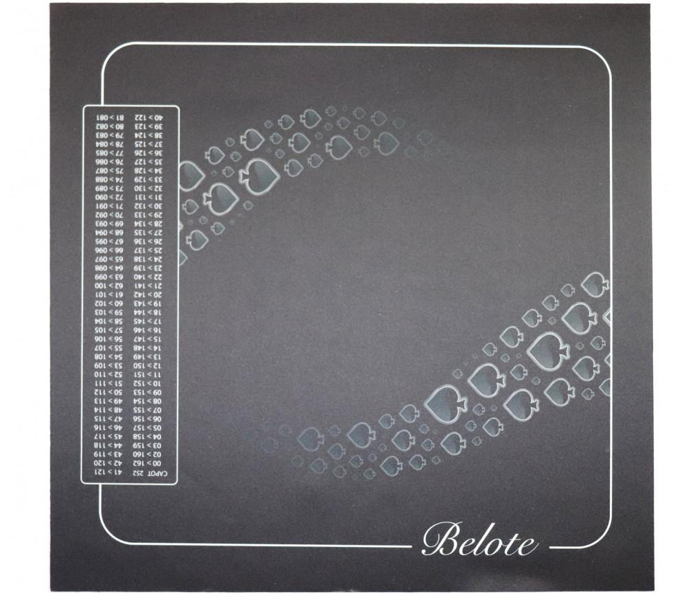 Tapis jeu 60 x 60 cm Belote avec grille noir Pique Forest