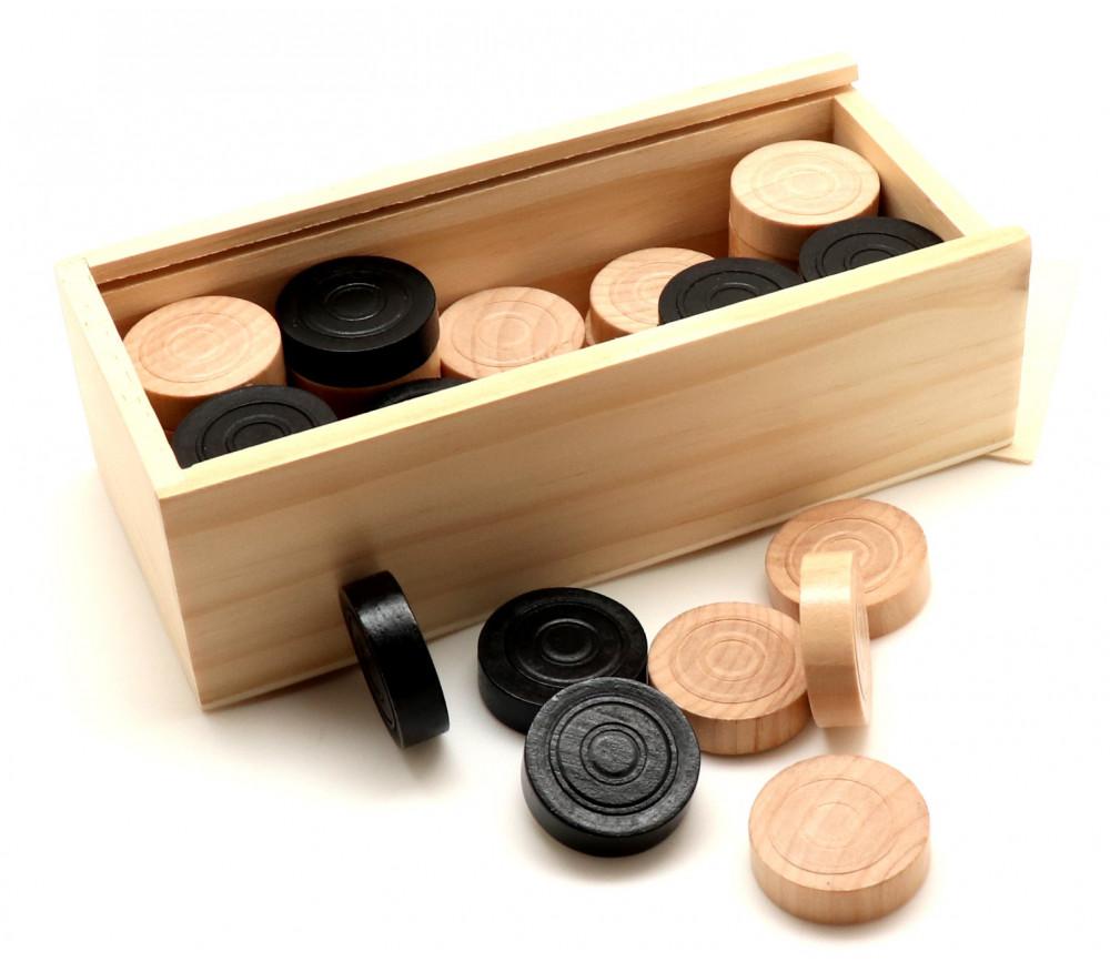 50 Pions en bois pour jeu de dames 32 mm moulurés dans coffret bois