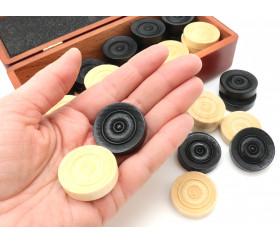 40 Pions bois pour jeu de dames 33 mm en coffret bois
