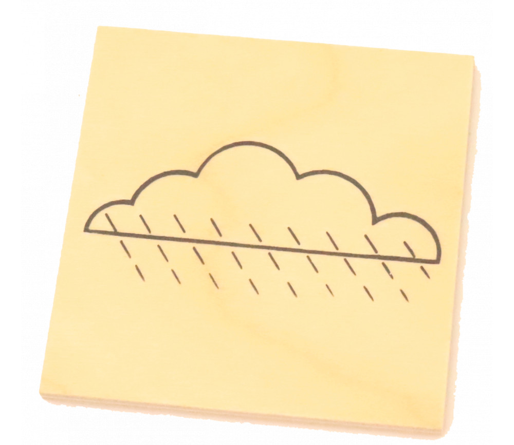 Plaquette nuage de 5 cm en bois