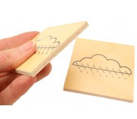 Plaquette nuage de 69 mm en bois