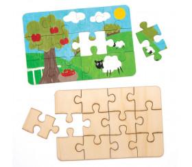 Puzzle bois 12 pièces à personnaliser rectangle 18 x 12 cm