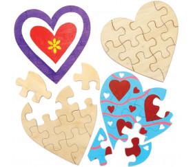 Puzzle cœur bois 10 pièces à personnaliser 16 x 16 cm