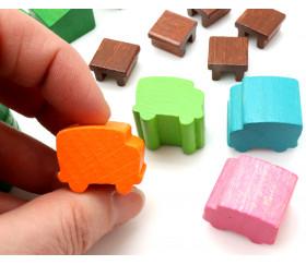 72 pièces en bois le petit marché : camions, étals, bâtiments et jetons