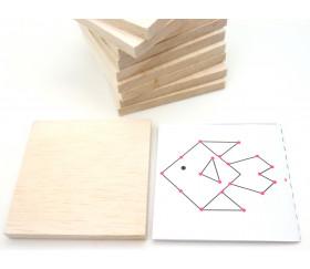 10 carrés bois naturel 10 x 10 cm avec 10 pochoirs
