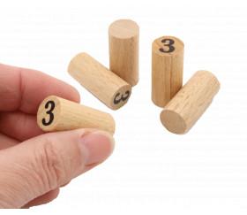 Pion numéro 3 - cylindre en bois 30 mm x 14 mm