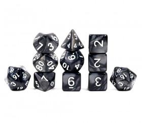 Set 11 dés multi-faces noirs nacrés (chiffres blancs)