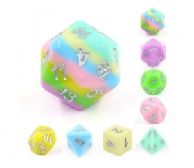 Set 8 dés multi-faces multicolores pastels