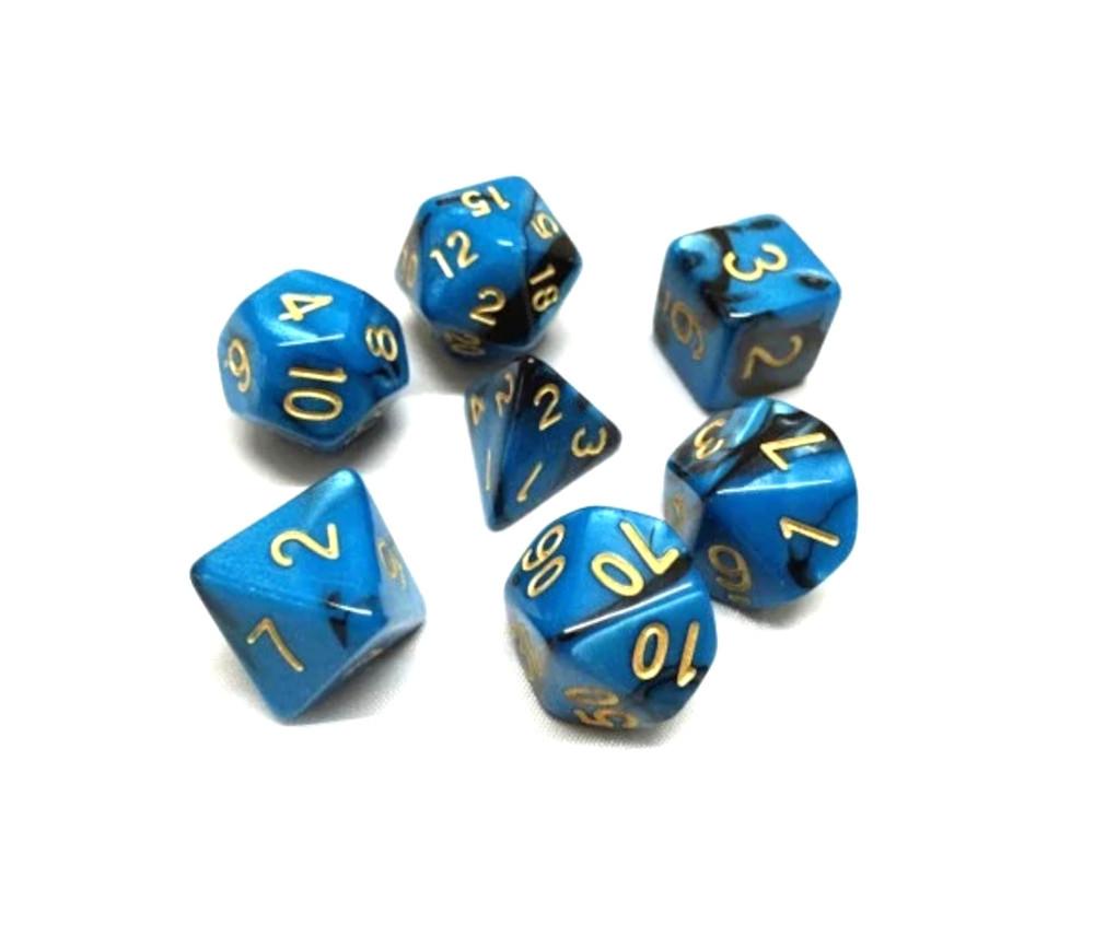 Set 7 dés multi-faces effet bleu et noir nacré