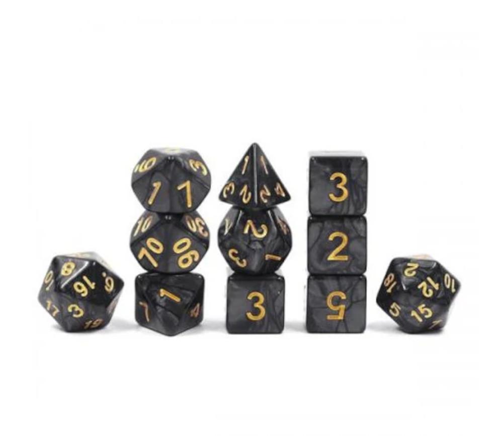 Set 11 dés multi-faces noirs nacrés (chiffres dorés)