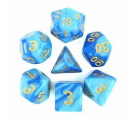 Set 7 dés multi-faces nacrés bleus