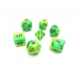 Set 7 dés multi-faces nacrés verts et jaunes
