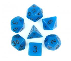 Set 7 dés multi-faces bleu phosphorescents