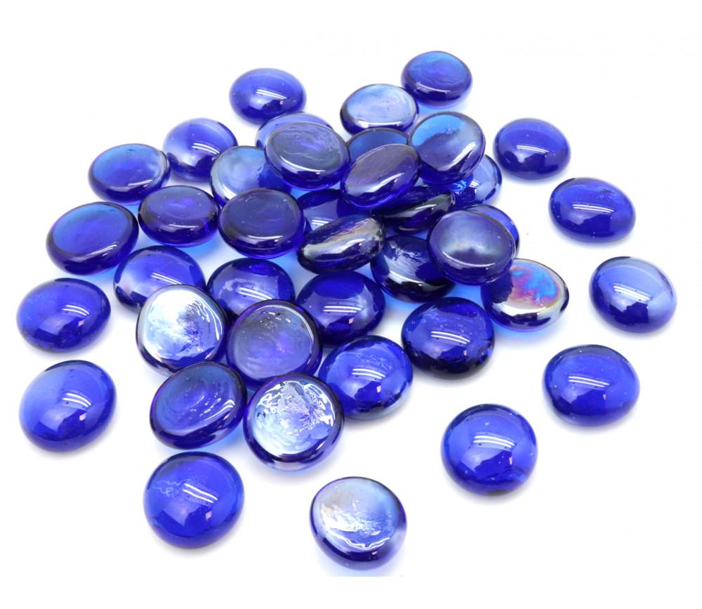 40 galets gems bleus mini pierres plates 18/22 mm