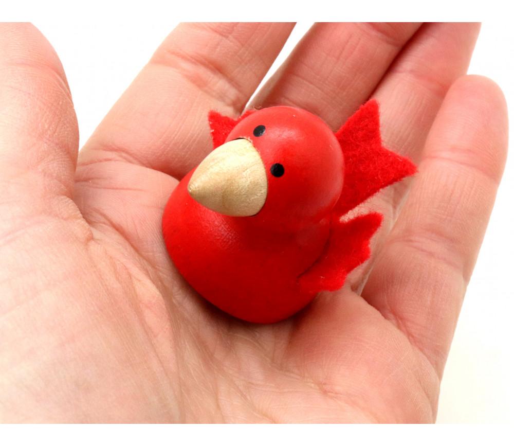 Pion oiseau magnétique rouge en bois et feutrine 30 x 35 mm