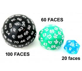 Dé 100 faces noir D100 de jeu