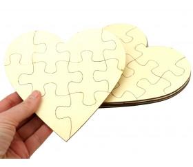 5 Puzzles cœur neutres bois 10 pièces à personnaliser 16 x 16 cm