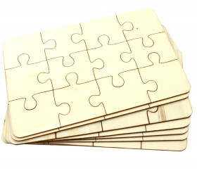 8 Puzzles bois 12 pièces à personnaliser rectangle 18 x 12 cm