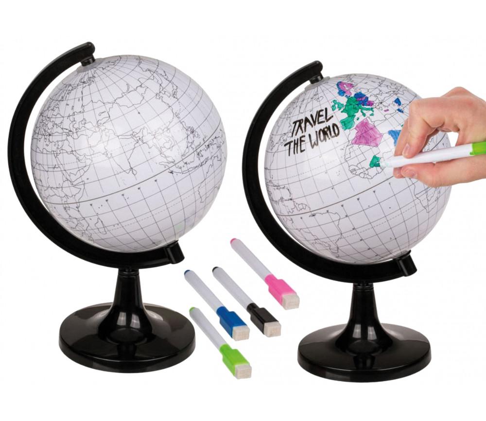 Globe terrestre sur pied à colorier avec 4 feutres effaçables