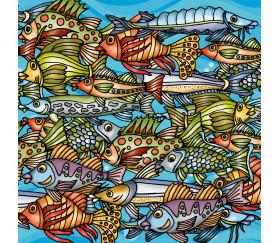 Mini puzzle 72 pièces les poissons multicolores 12.5 x 12.5 cm