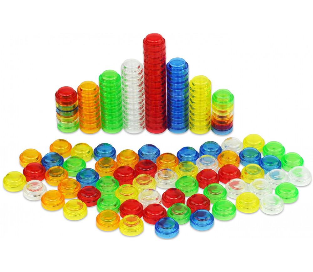 100 pions multicolores encastrables pour jeux de comptage