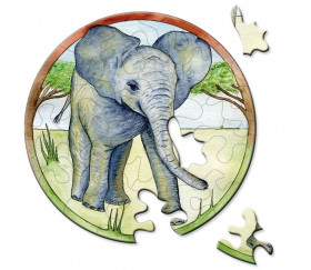 Mini puzzle rond éléphant 9 cm 33 pièces Curiosi