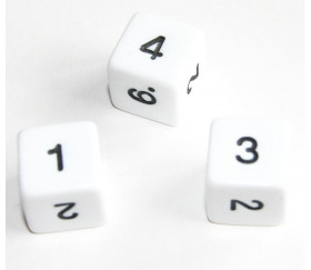 Dé chiffres 14 mm opaques chiffres coins droits