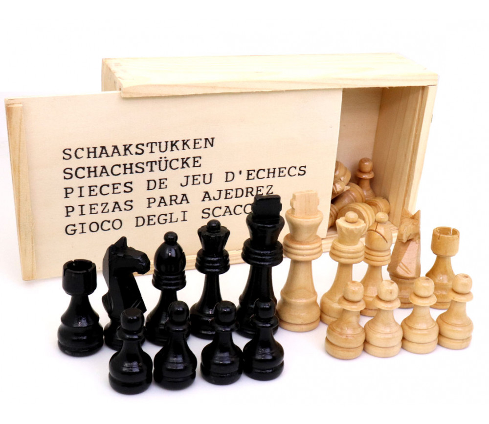 32 Pièces échecs bois T3 (noir/blanc) + coffret en bois