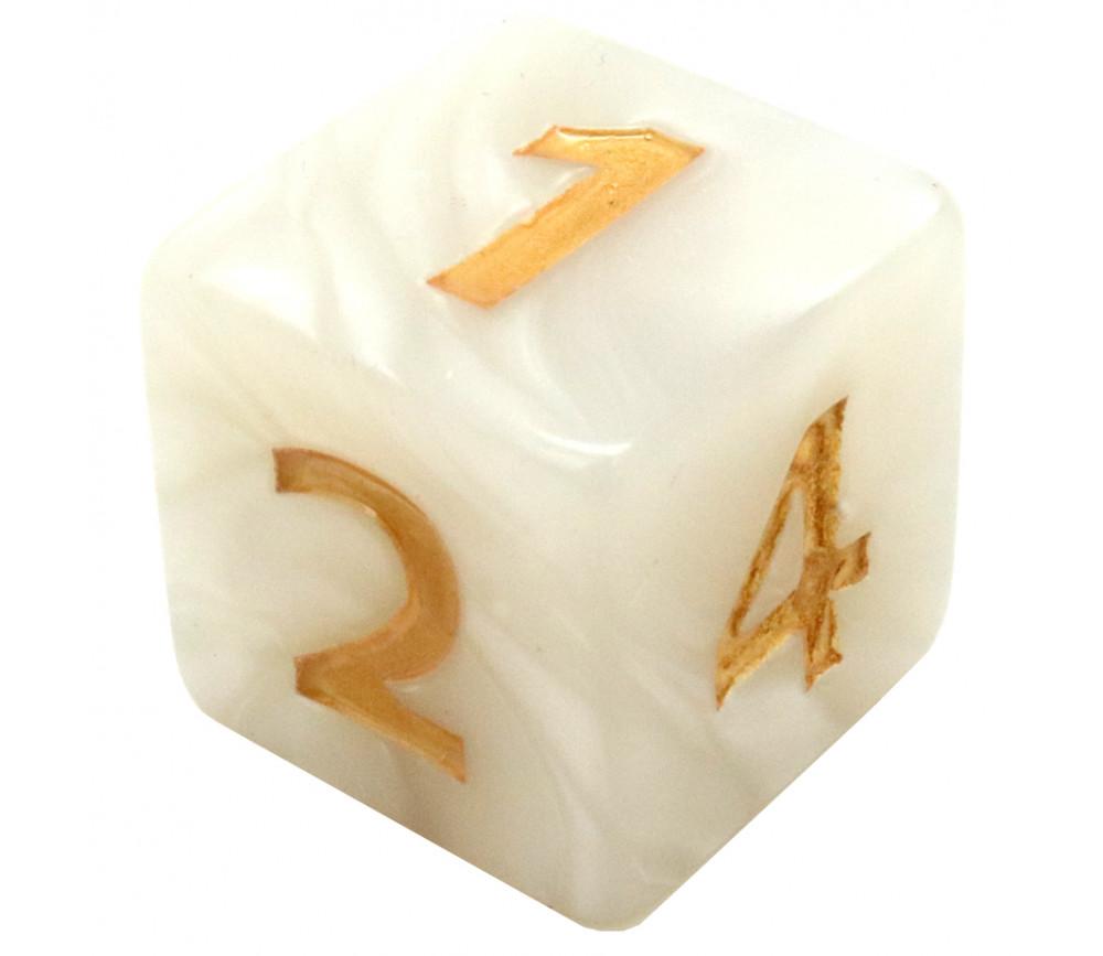 Dé 25 mm de 1 à 6 blanc nacré pour jeux