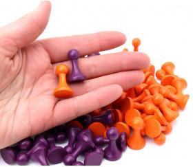 100 Pions bois 15 x 27 mm Modèle C (50 violet et 50 orange)