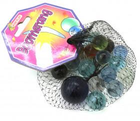 20 Billes translucides colorées - Boomerang 16 mm + 1 calot