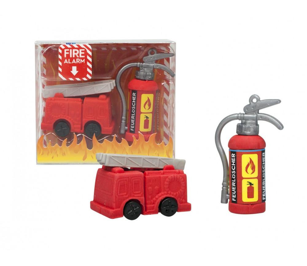 Gommes camion de pompier et instincteur