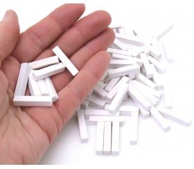 100 bûchettes 5x5x25 mm blanches en bois pour jeu
