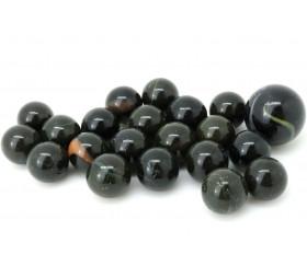 20 Billes opaques noires avec liseret - Panthère 16 mm + 1 calot