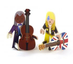 Personnages musiciens en bois et accessoires à construire