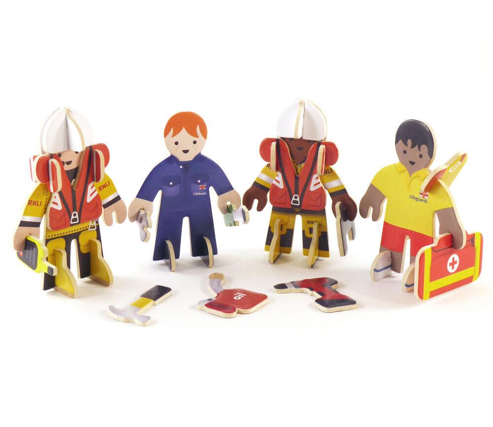 4 personnages en bois : secouristes des mers - équipe de sauvetage à construire